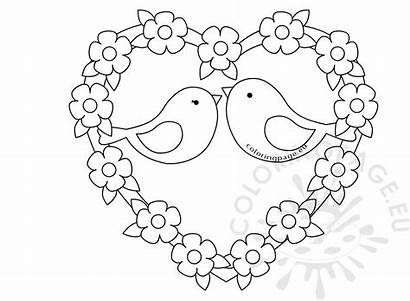 Birds Heart Sketch Valentine Coloring Valentines Hearts