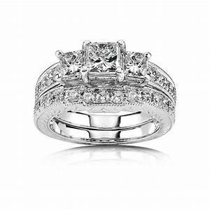 1 carat princess cut diamond antique three stone bridal With princess cut wedding ring sets cheap