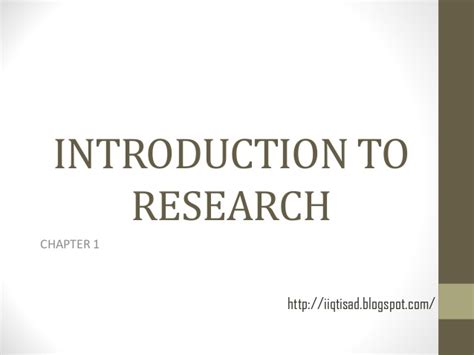 Chapter 1 Introduction To Research