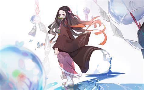 wallpaper kamado nezuko kimetsu  yaiba manga anime