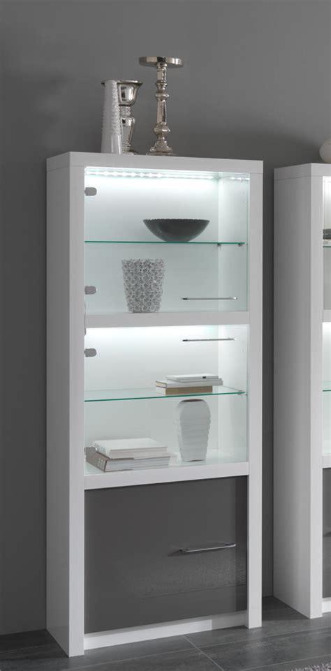 vitrine cuisine vitrine 1 porte fano laqué blanc et gris blanc brillant