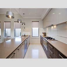 Modern Galley Kitchen Design Using Polished Concrete