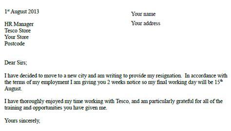 tesco resignation letter  resignletterorg