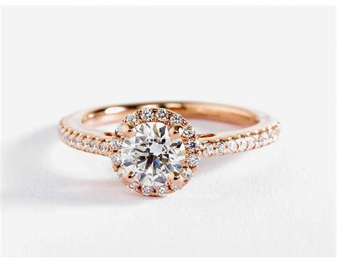 Classic Halo Diamond Engagement Ring In 14k Rose Gold (1/4