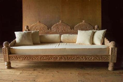 Carved Whitewashed Indian Daybed