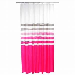 Rideau Rose Et Gris : rideau de douche diabolo 180x200cm rose ~ Teatrodelosmanantiales.com Idées de Décoration