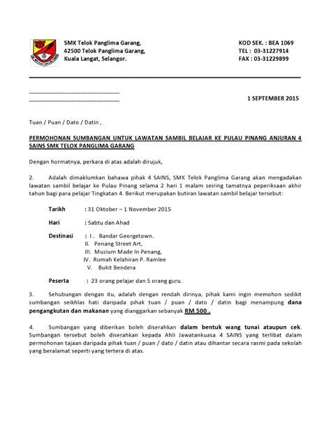 Contoh Format Surat Untuk Meminta Sponsor by Contoh Surat Rasmi Organisasi Contoh 36