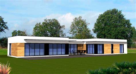 plan maison contemporaine plain pied plein pied veranda baie vitr 233 e jardin 232 re1 jpg 700 215 384
