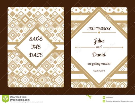 geometrical save  date  wedding invitation card