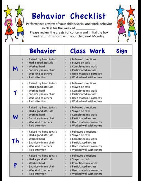 preschool behavior checklist my weekly behavior checklist for students social and 309
