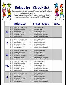 My weekly behavior checklist for students' social and ...