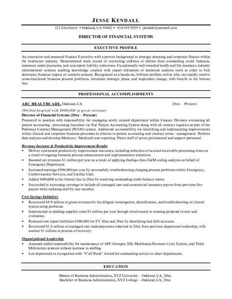 free director of financial services resume exle