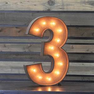 "Edison Marquee Number - ""3"" Town & Country Event Rentals"