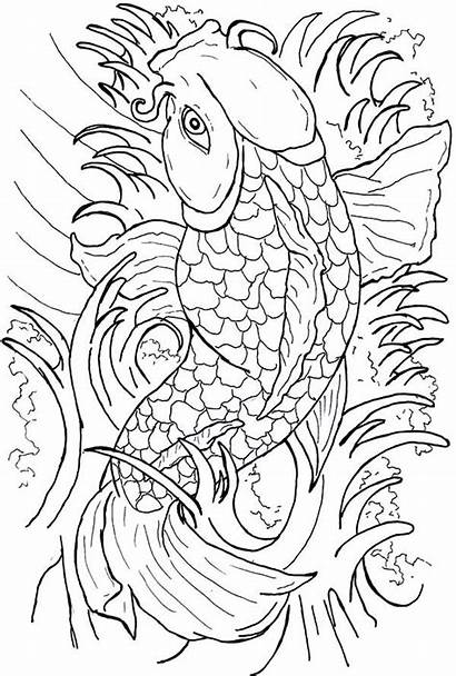 Coloring Pages Fish Coy Koi Japanese Tattoo