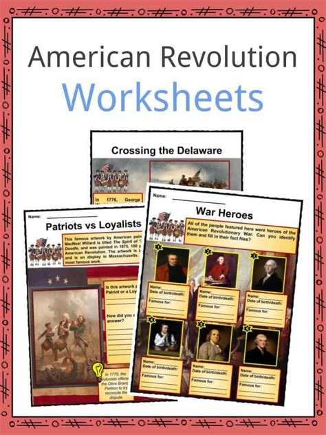 american revolution worksheets facts  kids