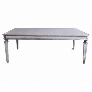 Durand french country wood trim mirrored coffee table for Mirror and wood coffee table