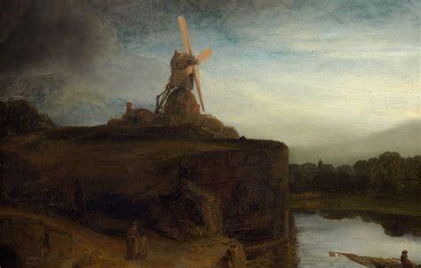 Wallpaper Landscape, Picture, Mill, Rembrandt Van Rijn