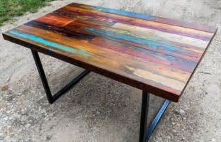 Raw Wood Bar Stools by Diy Colorful Top Pallet Dining Table 101 Pallets