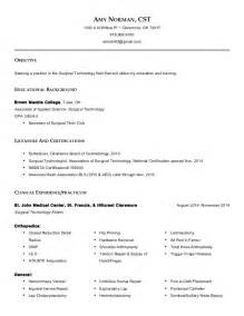 surgical resume exles surgical technologist norman resume