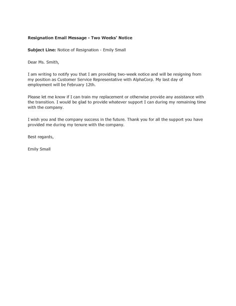 resignation letter 2 week notice professional two weeks notice letter templates