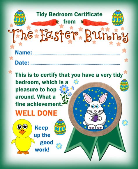 easter bunny tidy bedroom certificate rooftop post