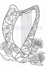 Harp Pages Coloring Celtic Colouring Irish Printable Flowers Embroidery Patterns Pattern Craft Fairy Harps Books Adult Sheets Zentangle Hearts Mosaic sketch template
