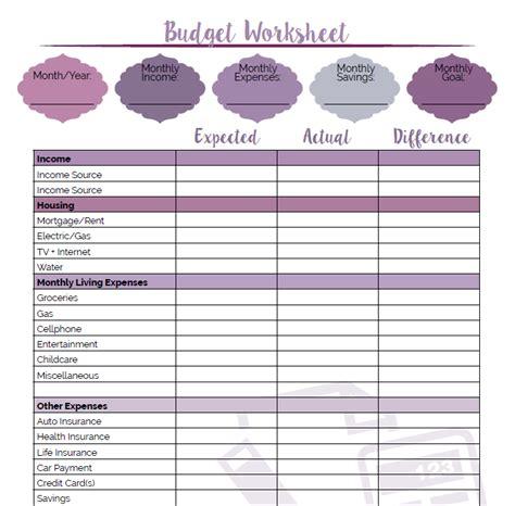 fun  pretty printable budget worksheet  custom