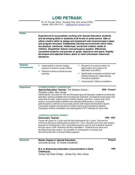 Resumes For Teachers by Resumes Resume Templates