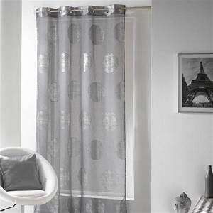 Voilage Blanc Et Gris : voilage 140 x h240 cm platine gris voilage eminza ~ Teatrodelosmanantiales.com Idées de Décoration
