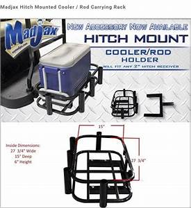 Universal Golf Cart Hitch Mounted Cooler    Fishing Rod Holder   Hunting Attachment