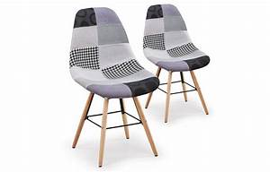Chaise Grise Scandinave Design Patchwork Lot De 2