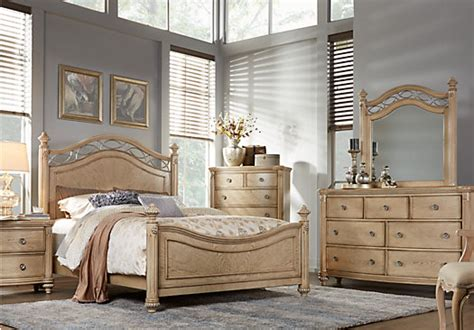 Light Colored Bedroom Sets by Laurel View Sand 5 Pc King Poster Bedroom Bedroom Sets