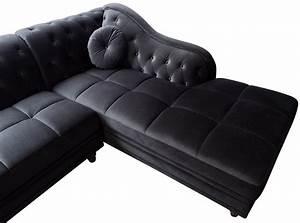 Canapé D Angle Chesterfield : canap d 39 angle droit empire velours noir style chesterfield ~ Teatrodelosmanantiales.com Idées de Décoration