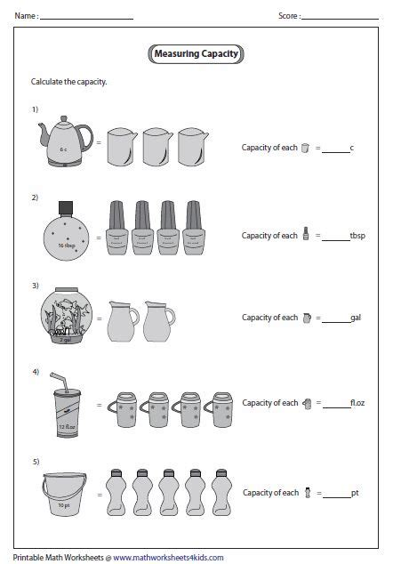unitary method customary units marwa capacity worksheets math measurement teaching math