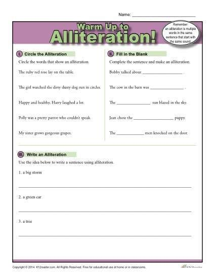 Alliteration Warm Up Activity  Education  Poetry  Pinterest  Alliteration, Activities And