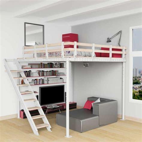 lit mezzanine 2 places avec canapé cama alta ts 8 con escalera lateral tecrostar com
