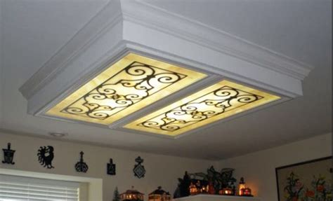 kitchen fluorescent ceiling light covers cover up lighting fluorescent light cover diy 8099