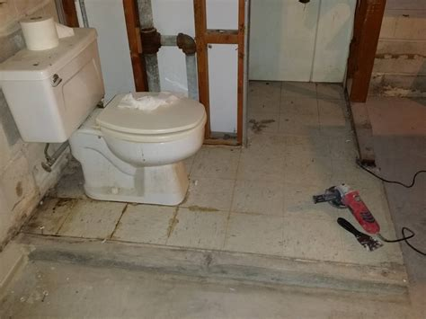 basement bathroom flooring options can i break up the floor of a raised floor basement bathroom without damaging the plumbing