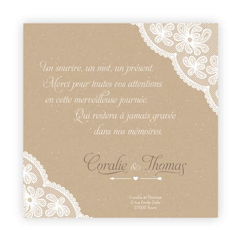 texte remerciement mariage original gratuit carte de remerciement mariage effet nappe dentelle sur