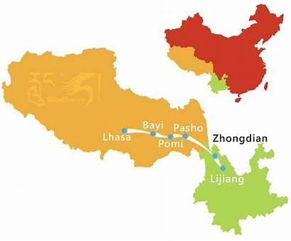 Tibet Yunnan Tour Map Overland Sichuan Lijiang