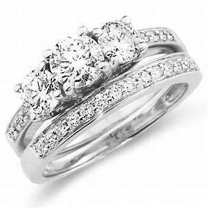 14k three stone diamond wedding ring set engagement for Three stone wedding ring set
