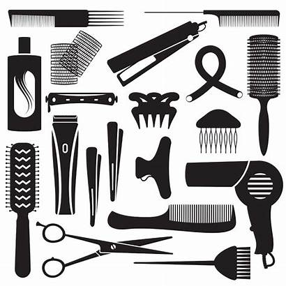 Barbershop Tools Clipart Silhouette Hairdresser Kit Styling