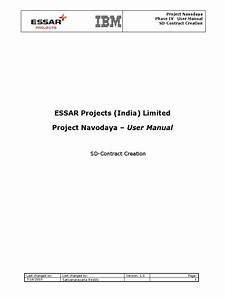 Sap Sd Contract Creation User Manual