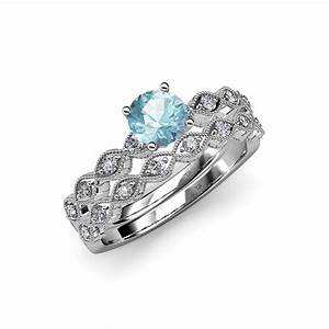 Aquamarine diamond marquise shape engagement ring for Wedding rings aquamarine