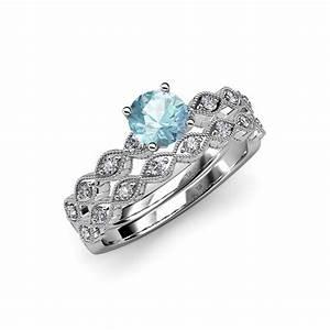 aquamarine diamond marquise shape engagement ring With wedding rings aquamarine
