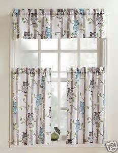 unique multi colored 3 pc owl printed kitchen curtain set
