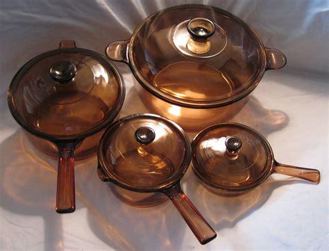 vintage vision brown glass corning pyrex cookware set