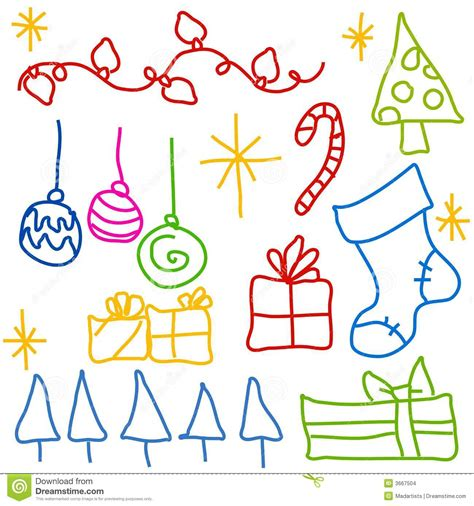 childlike christmas doodle drawings stock images image