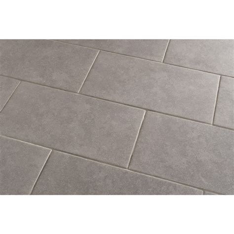 lowes flooring grey shop style selections mitte gray glazed porcelain floor tile common 12 in x 24 in actual 11