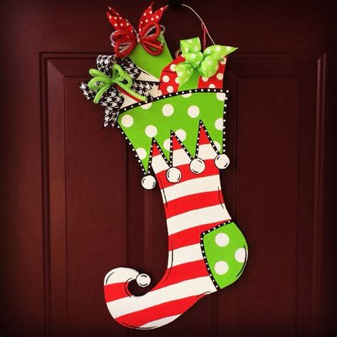 red green  white wooden hand painted whimsical